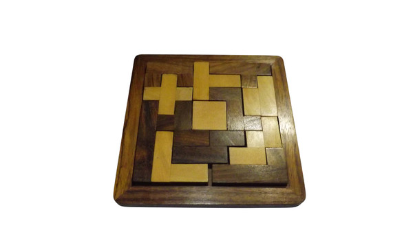 Wooden Tangram Puzzle Game   Brain teaser activity puzzle Problem solving skills 5 x 5 Made in India