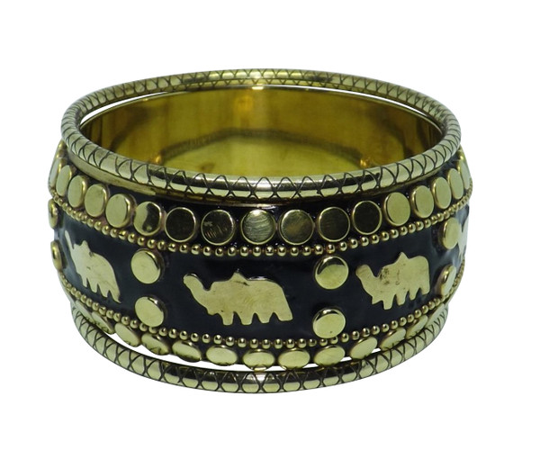 """Black & Gold Brass Elephant Bangle Set  Nothing ordinary with this set of three bangles, set features one wide black/gold bangle with brass elephants and two small all gold brass bangles.  This set will fit 65 mm or 2.5"""" opening.  Larger size is 2 7/8"""" opening."""