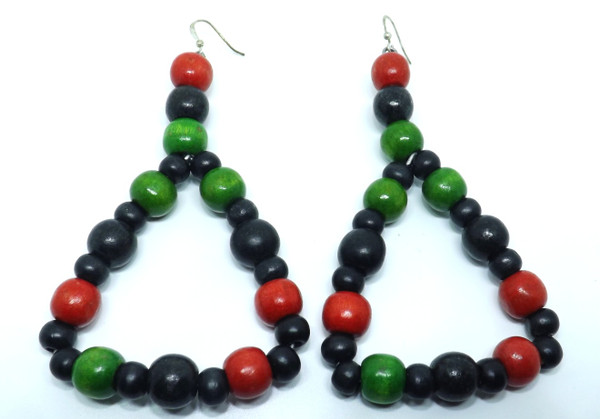 """Beaded Afrocentric Triangle RBG Wooden Earrings  4"""" in length  1.5"""" wide"""