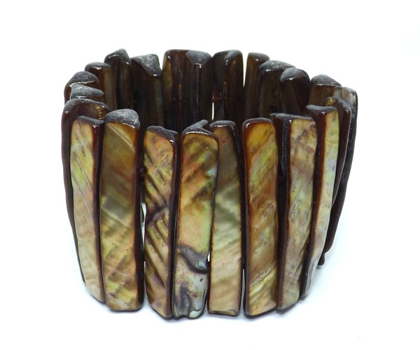 Brown Lip Shell Elastic Bracelet  Shiny shell elastic bracelet One size fits Most Made in Indonesia
