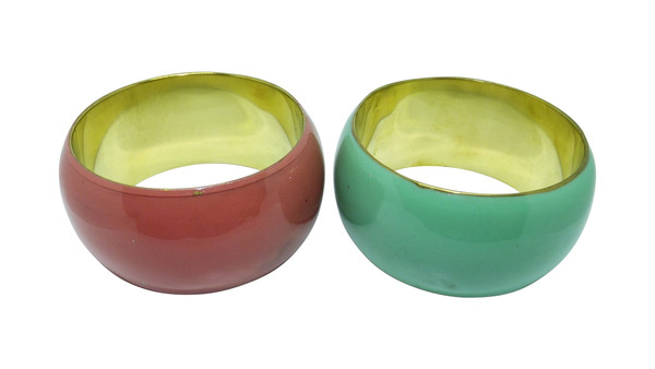 """Resin & Brass Bangles  Two bangles for the price of one...bangles have minor imperfections, but are still wearable.  Opening 2.5"""" wide for small hands.   Imperfections: Nick marks."""