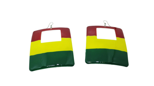 "Rasta Empress Block Metal Earrings  2.5"" wide.  Hollow back Metal shiny finish"
