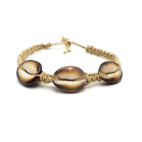 Tiger's Eye Anklet/Bracelet   Three shell tiger's eye cowrie Hemp fabric Wear on wrist or ankle Made in Indonesia