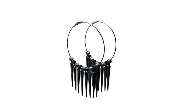 "Jumbo Gun Metal Spiked Earrings  Stylish statement hoop errings are edgy big and bold.   Length: 4"" Width: 1.5"" Material: Metal Color: Gun Metal"