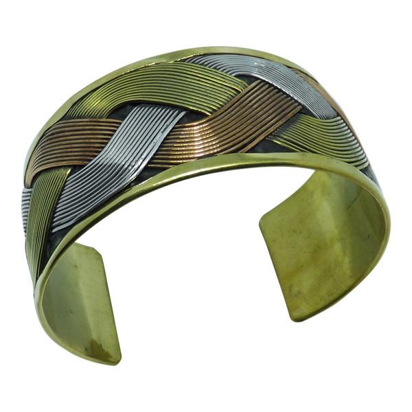 "Tri-tone Woven Cuff Bracelet All metal 6"" length 1.5"" width"