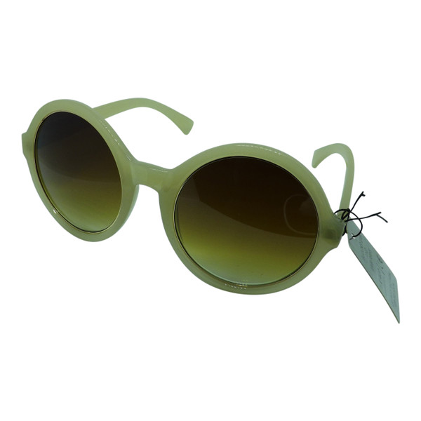 Retro Round Sunglasses  DG brand, round rim Sunglasses in beige.  100% UVA & UVB ANSIZ80.3 General UV Protection