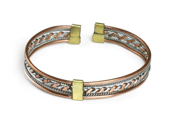 Five Row Twisted Silver/Copper Bracelet