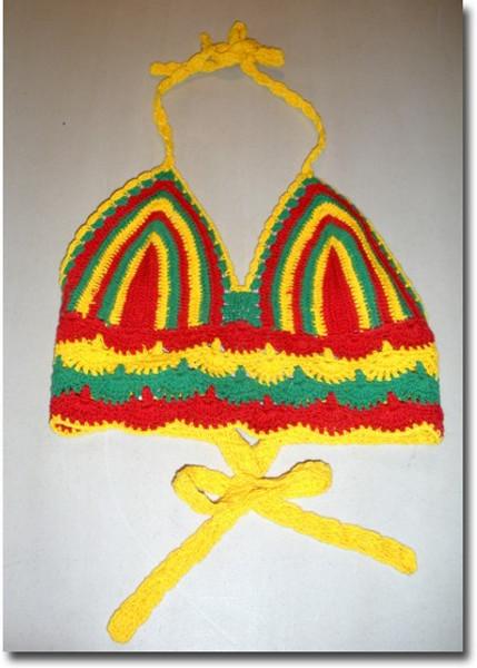 Crochet Mini Midriff Halter Top Reggae Crochet Top Mini Crochet top mini in Reggae colors. Red, yellow, green hand crocheted, 100% cotton. One size fits most.