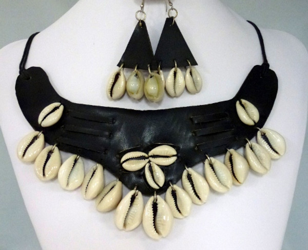 """Handmade Leather Cowrie Shell Necklace & Earring Set.  Necklace is 12"""" and Earrings are 1.5"""" Length."""