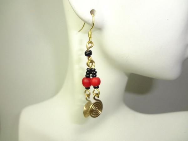 """2"""" Brass Coil & Beaded Earrings"""