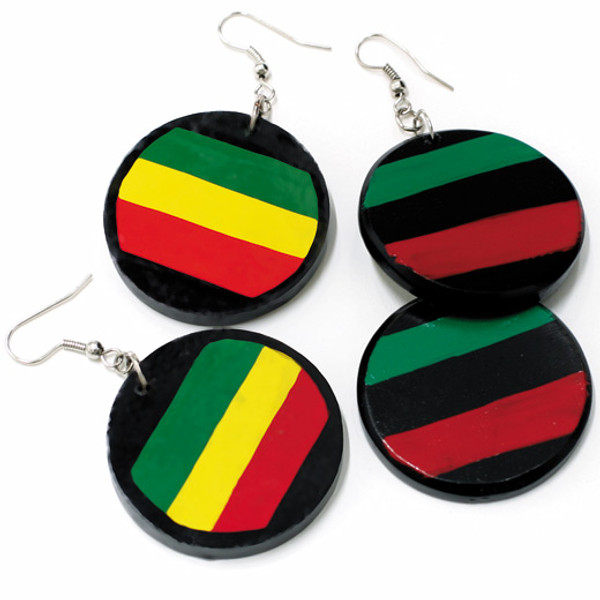 Afro & Rasta Striped Round Coconut Disc Earrings