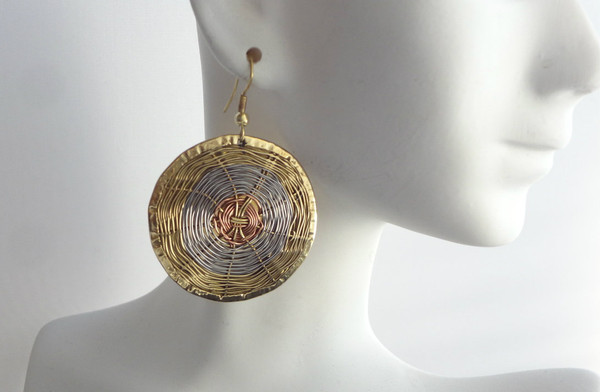 "2"" Round Tri-Tone Woven Brass Earrings. Made in India."