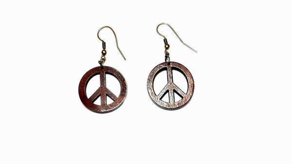 "2"" Wooden Peace Sign Earrings"
