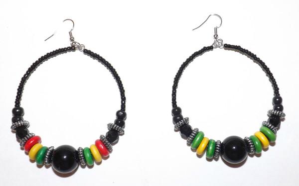 Rasta or Jamaica hoop earrings