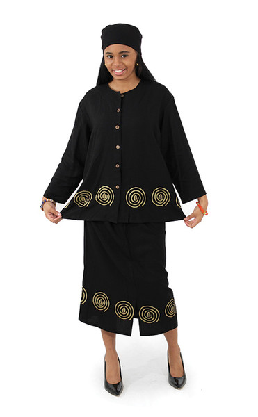 "Cowrie Button-Top & Pencil-Skirt Set  Sophistication gets Afrocentric with this stunning top and skirt set. Perfect for the office or a morning at church. Made from silky smooth 100% Rayon, Turn inside out, Hand wash separately in cold water. Do not bleach. Line dry, steam iron.  Small top fits up to 40"" bust; 25"" long. Skirt fits up to 36"" waist x 28"" long. Hat approx. 18"" in circumference. Medium top fits up to 42"" bust; 25"" long. Skirt fits up to 40"" waist x 30"" long. Hat approx. 20"" in circumference. Large top fits up to 46"" bust; 26"" long. Skirt fits up to 40"" waist x 30"" long. Hat approx. 20"" in circumference. Extra Large top fits up to 48"" bust; 27"" long. Skirt fits up to 42"" waist x 30"" long. Hat approx. 22"" in circumference. Made in Indonesia."
