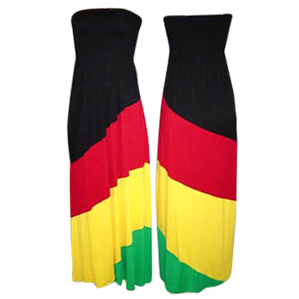 """Full length Rasta Empress Halter dress.  Size Large fits up to a 38"""" bust, full length of dress is 55""""."""