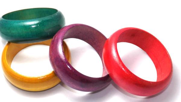 "Glossy Bangle Bracelets  3"" opening; colors: Brown, Natural, Black, Dark Brown, Teal, Red, Purple, Mustard, Pink"
