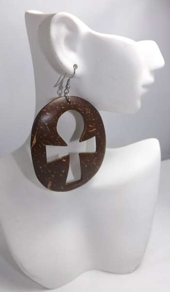 """2.5"""" Brown Coconut Shell Ankh Earrings  Bold and beautiful handmade Ankh coconut shell earrings.  Markings on the earrings are natural."""