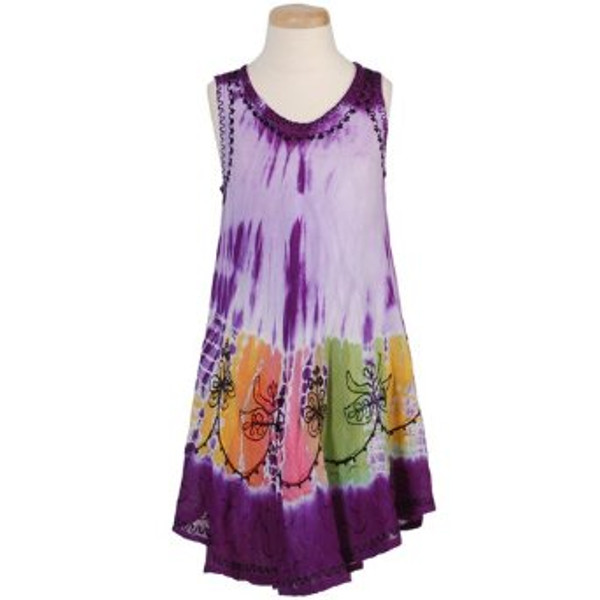Girl's Tie Dye Dresses Tie Dye Dress for your little girl; multi-colored at the base of the dress; light fabric and sleeveless, 100% Rayon.