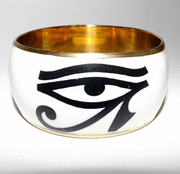 """Adinkra Bangles   Ancient Afrikan symbols!! Select a design that has a special meaning for you or a loved one! Brass finished, acrylic outer-layer.  Opening is 2 7/8""""."""