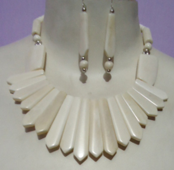 """White Bone Necklace Set....Necklace is 12"""" and matching Earrings are 1"""".  Bone necklace sets are available in many colors."""