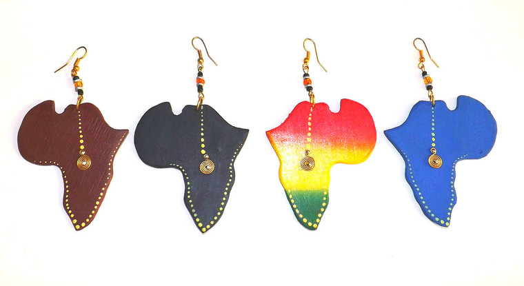 """2.5"""" Handmade Africa Map Wooden Earrings  Hand-carved Africa map earrings; gold accents."""