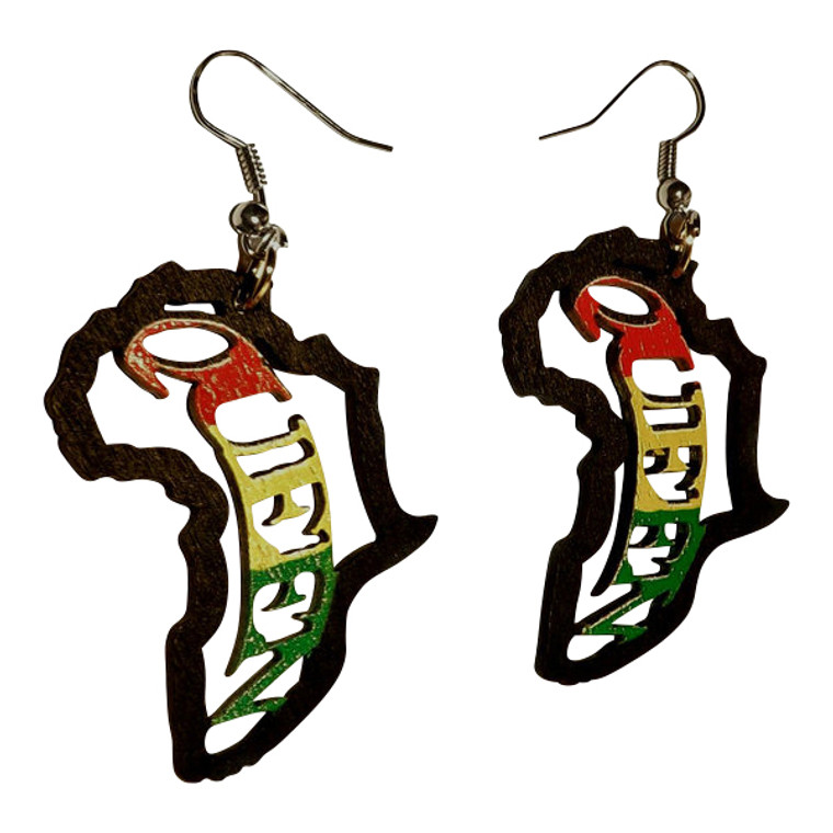 """2"""" Wooden African Queen Earrings  Mini wooden Africa map/queen cut-out earrings; 2"""" in total length; 1"""" wide. Print is one one side only. Made in China."""
