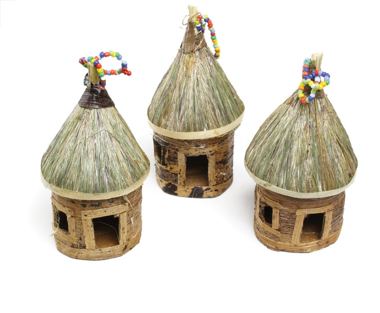 """Banana Leaf Ornament Huts  These can be used to decorate your home anytime or hang on your Christmas tree. Approx. 4.5"""" tall. Made in Kenya."""