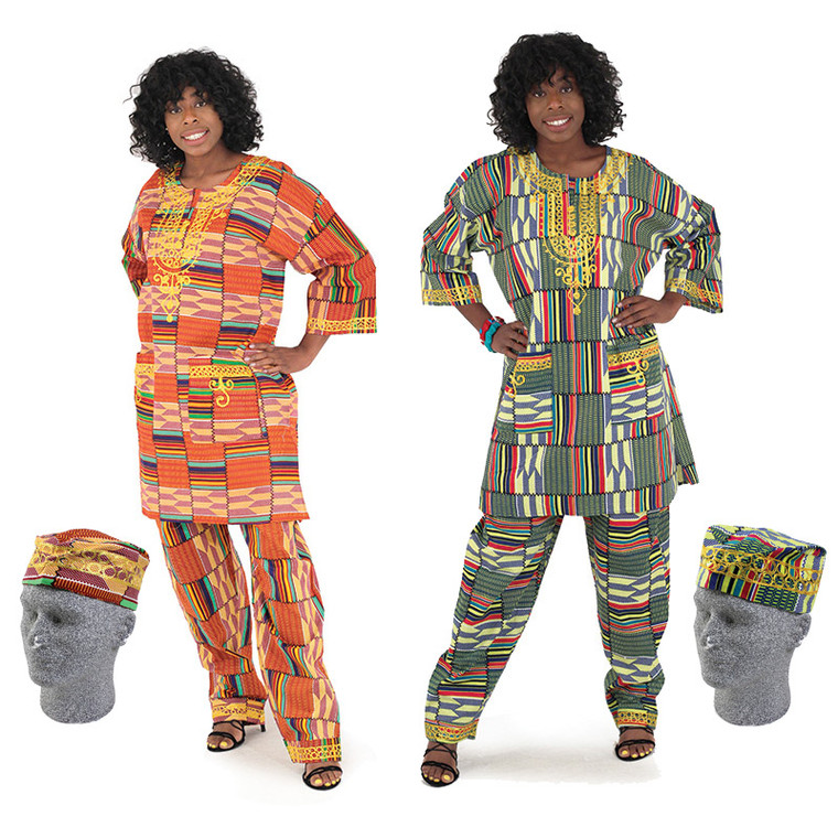 """Unisex Kente Pants Set (Orange Print)   Unisex kente pants set is 100% cotton with extra embroidery. The dashiki top fits up to 52"""" chest and is 35"""" long. Pants fits up to a 48"""" waist with drawstring. 40"""" in length with 27"""" inseam. Includes a kufi with 24"""" circumference."""