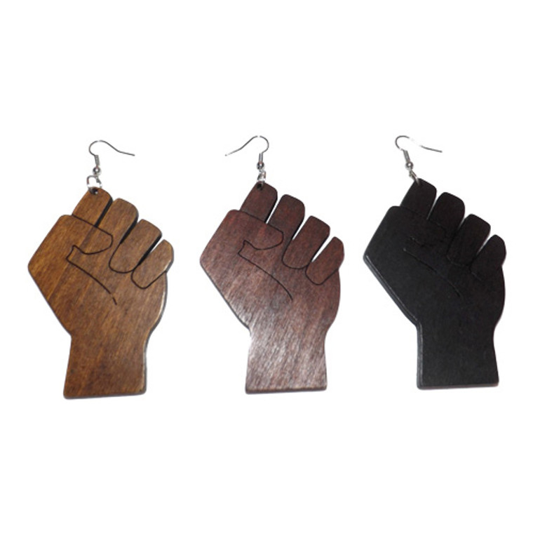 """Wooden Fist Statement Earrings  Fist up shows solidarity and support among those within our own community.  3"""" wooden earrings and 1.5"""" wide."""
