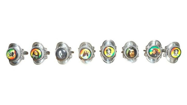 Bob Marley Stainless Steel Rings  One size fits most; adjustable rings  Stainless steel  No individual selections.