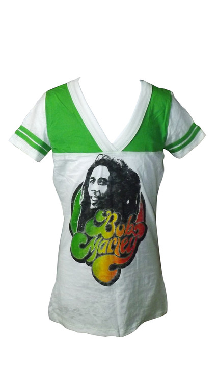 Bob Marley Ladies T-Shirt   Size Small 100% Cotton Color: Green/White