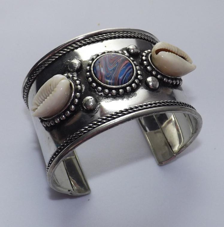 "Cowrie Button Cuff Bracelet  1 1/8"" wide 7"" in length 1 3/4"" gap"