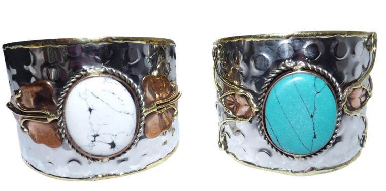 """Stainless Steel Mixed Metal Stone Cuff Bracelets  Extra large width-7.5"""" 2.125 width 2"""" gap Turquoise or White stone only"""