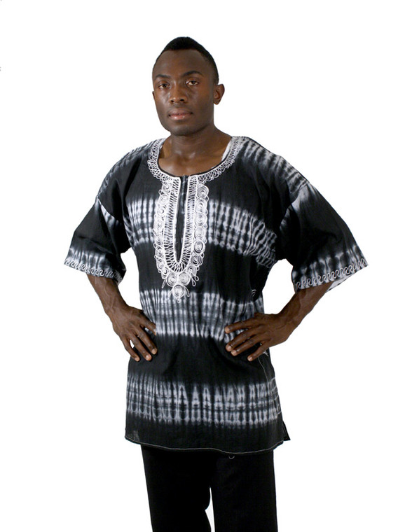 "Find all the originality your wardrobe lacks with this colorful and expressive tie dye dashiki. Normally fits up to a 58"" chest with a 33"" length. These have been made by different tailors in Africa however, and the measurements and tie-dye designs may vary significantly. 100% cotton. Made in Gambia."