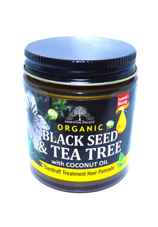 Black Seed & Tea Tree Hair Pomade  Dandruff formula Damaged hair repair Ingredients: Black Seed oil, Shea Butter, Coconut Oil, Tea Tree oil, Carrot Oil, Almond Oil, Rosemary, Shea Butter, Coconut Oil, Extra Virgin Olive Oil, Sweet Almond Oil, Castor Oil, Soybean Oil, Black Cumin Oil, Vitamin E (Tocopherol), Lanolin, Coconut Oil, Pure Mineral Jelly, Butyrospermum, and fragrance and colorant.