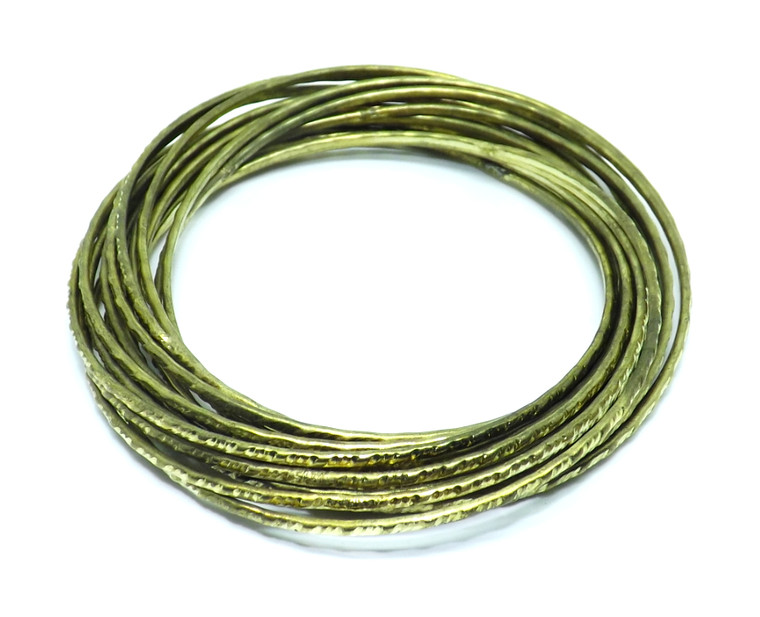 Gold Brass Interlocking Multi-Bangle Bracelet  2.5 Inches (Diameter) 7.5 Inches (Circumference)  Made in India