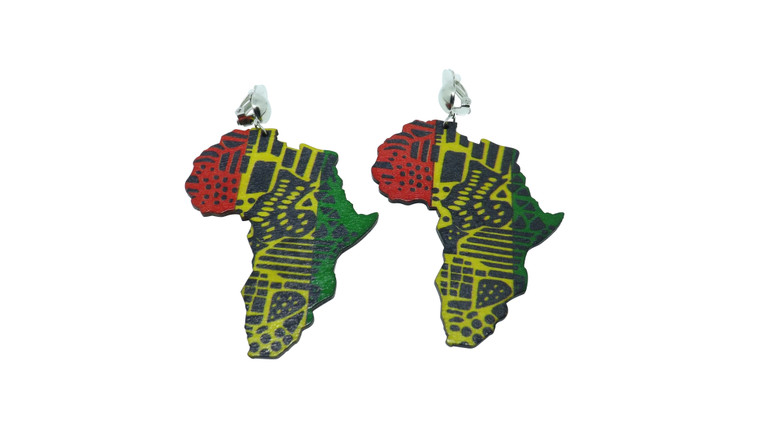 """Africa Map Wooden Earrings  Non pierced stylish earrings are here...try these colorful and stylish africa map wooden clip on earrings. Three styles to choose from.  2.5"""" in length. Made in China."""