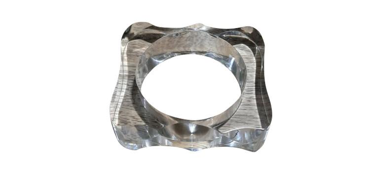 "Clear Concave Lucite Bangle Bracelet  Bracelet has a 2 7/8"" opening."