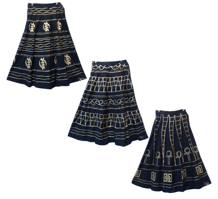 """Black & Gold Afrocentric Wrap Skirts  Black wrapper skirt with gold African print symbols Fits up to a 40"""" waist 39"""" length"""