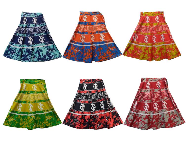 "Gye Nyame Splash Tie Dye Skirts  Mid Length Skirt-30"" in length Tie dye wrap design Fits up to a 38"" waist"