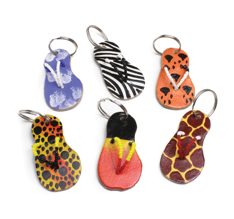 """African Sandal Key Holder  2.5"""" long. Made of leather and beads. Styles vary and cannot be specified. Made in Kenya."""
