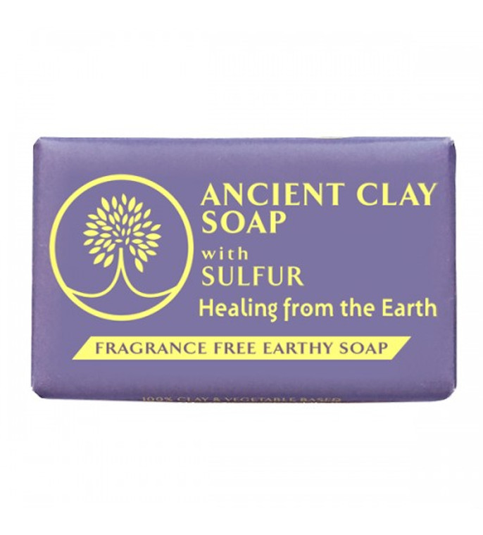 Ancient Clay Soap with Sulfur 6 oz  Ancient Clay Soap with SULFUR is a popular natural remedy for acne, whiteheads, rosacea, eczema and seborrhea dermatitis. Sulfur has been known to treat symptoms related to troubled skin.  Ancient clay soaps include pure Calcium Montorillonite clay, used for centuries by indigenous cultures  to purify and nourish the skin.   How does this soap benefit your skin?  • Ionic Minerals (Pure Calcium Montmorillonite Clay) contains more than 57 trace minerals to help stimulate skin cell renewal. • Shea Butter is full of vitamins and fatty acids to help nourish and moisturize the skin.  • Coconut oil is rich in nutrients to help prevent dry skin.   •  100% Natural & Fragrance free  • 100% Vegan  • Gluten Free  • No Sulfates  • No Paraben