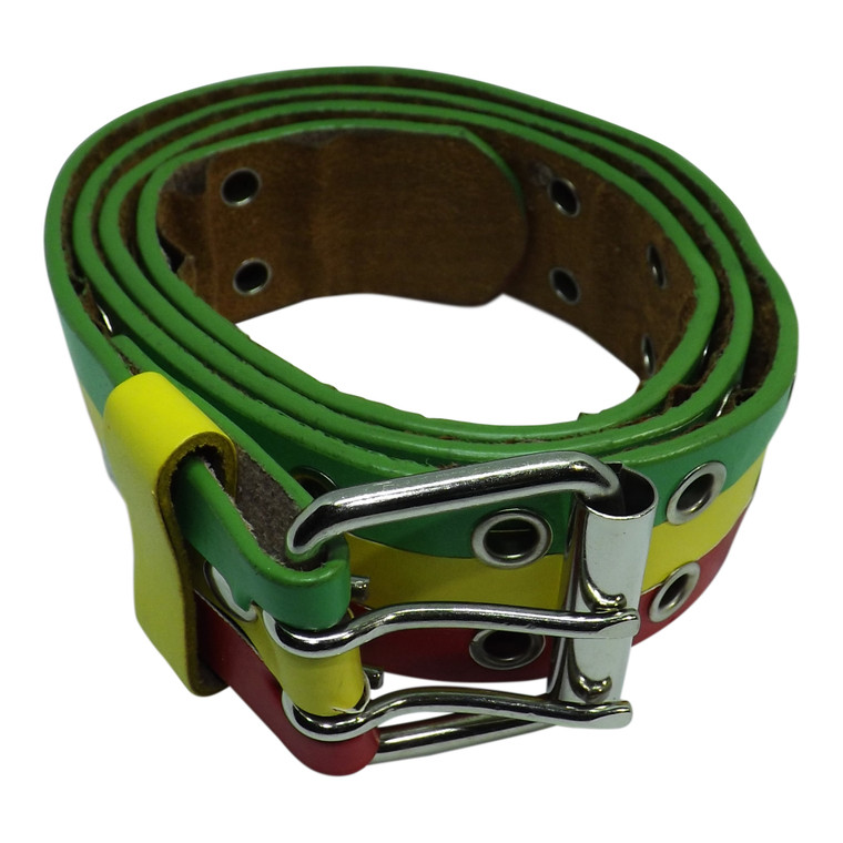 Rasta Striped Faux Leather Buckle Belts  Green Yellow Red stripes Faux Leather Double Prong Bridle Belt Two holes entire length of belt Two prong roller buckle Fits up to a 36-38 waist Made in China