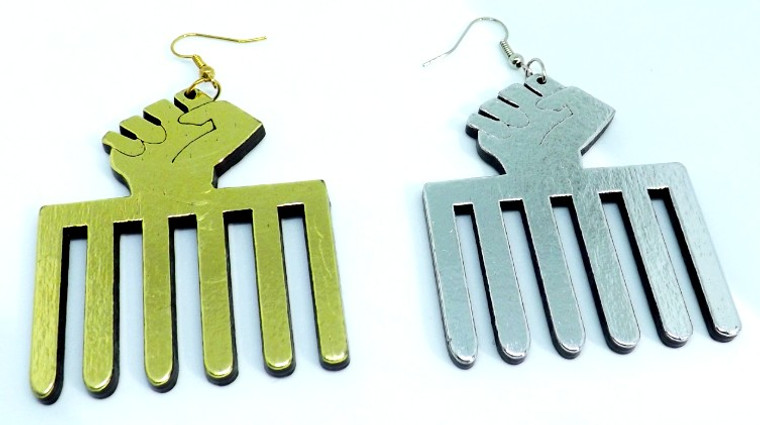 """Wooden Fist Earrings  Wide style wooden Afrocentric fist/comb earrings  Colors: Dark Brown, Medium Brown, Gold or Silver 2"""" wide Made in China"""