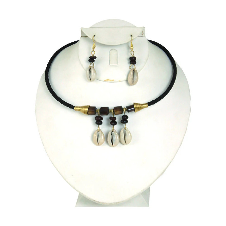 "Kenyan Cowrie Shell Choker & Earring Set Necklace is 17"" in length. Earrings are 2"". Made in Kenya"