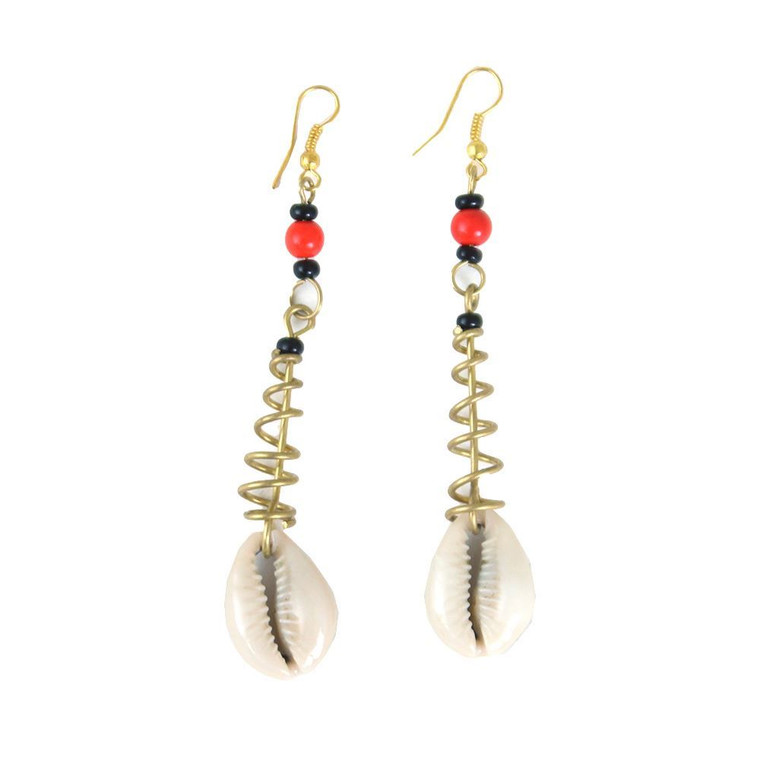 Cowrie Shell Spiral Earrings  Cowrie Shell Spiral Earrings are Unique and eye-catching, these Cowrie Shell Bone Spiral Earrings let you accessorize in style. The cowrie shell has a long and potent history as symbol of both material wealth and spirituality in Africa.  Made in Kenya