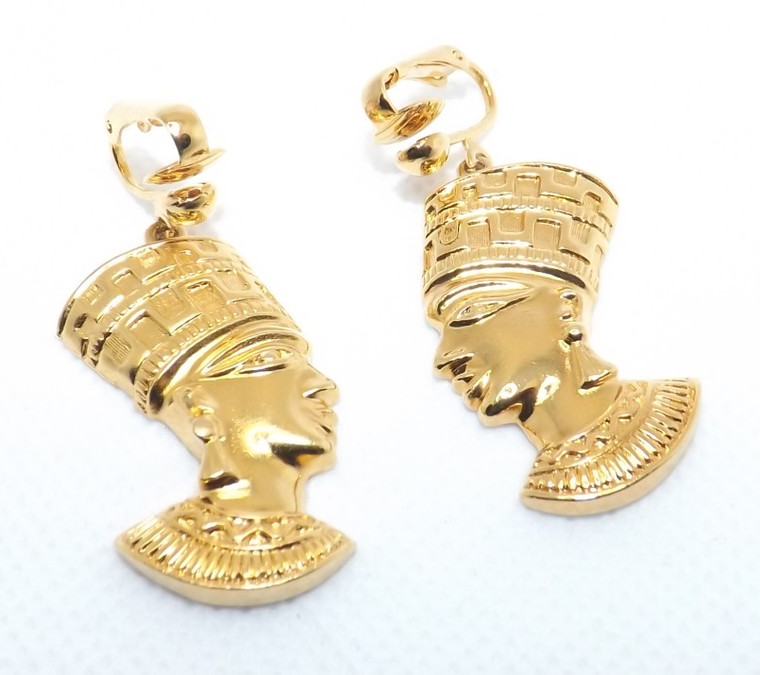 """Nefertiti Gold Clip-On Earrings  Gold Tone Clip-on 1.5""""  Made in China"""