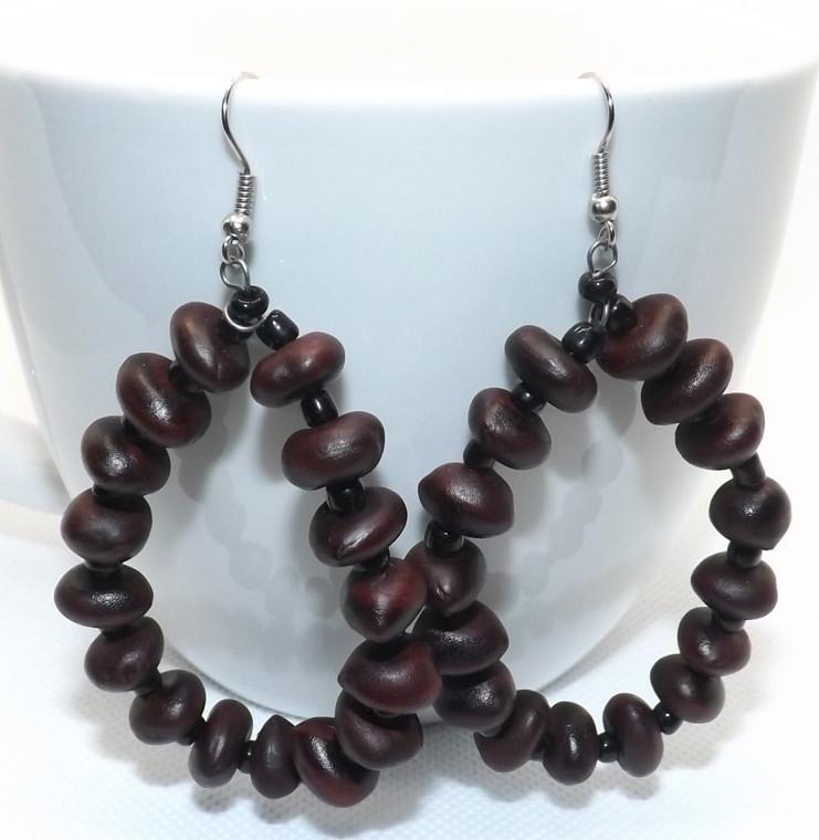 """Brown Seed Bead Hoop Earrings  3"""" in length hoop earrings Brown Seed Beads Made in Kenya"""