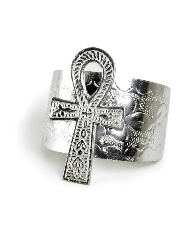 """Silver Ankh Cuff Bracelet, 3"""" Pendant"""